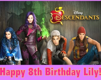 Personalized Birthday Party Edible Image Icing Frosting Sheet Cake Topper - 1/4 Sheet Sized - DISNEY Descendants THE Movie 1 2