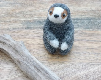 Felted SLOTH in gray cute keepsake desk buddy stocking stuffer small Mother's Day gift