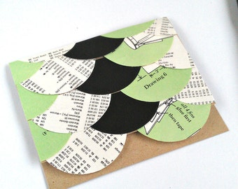 Friendship Card, Get Well Soon, Handmade Greeting Card, Just Because Card, Encouragement Card, Sympathy Card, Blank Card, Green Black