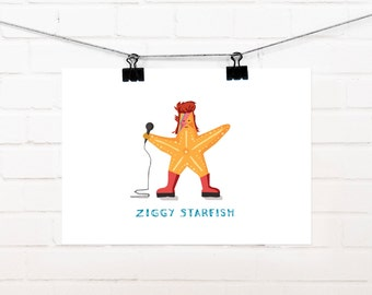 Ziggy Starfish A4 print, David Bowie,David Bowie Starman, Ziggy Stardust, David Bowie Art, Gift for him, Gift for her, David Bowie birthday