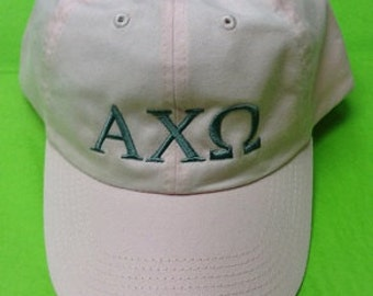 Baseball cap Alpha Chi Omega in Pink with Grey Embroidery