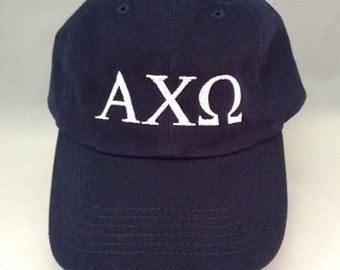 Baseball cap Alpha Chi Omega in Navy with White Embroidery