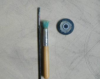 Brooch, boutonniere, denim blue, vintage button