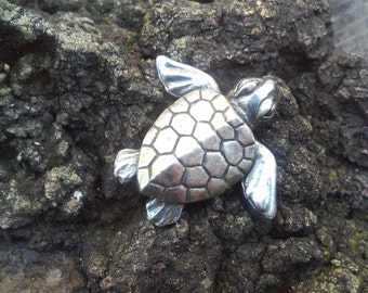 Green Girl Studios Turtle Button, Lead Free Pewter
