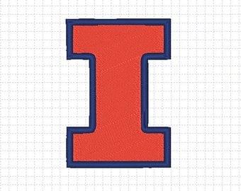 Illinois Fighting Illini Embroidery Design 4x4 inches-Instant Download