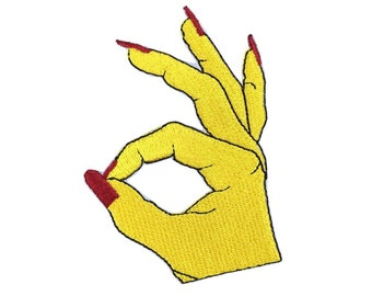 embroidered patch finger ok patch cool patch iron on patch sew on patch