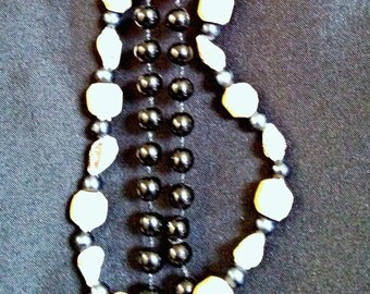 Vintage Costume Necklaces, Shells and Beads, 2 Necklaces Black and White