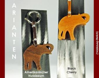 Key fob Elephant made of fine wood