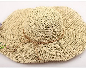 Floppy Sun Hat,  Derby Beach hat, Elegant Style, made from 100% paper straw