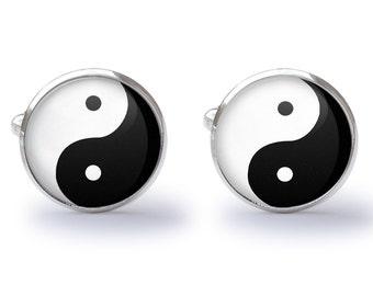 Yin Yang Cufflinks - YinYang Cuff Links - Feng Shui Cuff links - Asian Cufflink (Pair) Lifetime Guarantee (S0379)