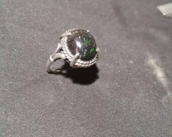 Sterling ring with black honduran opal