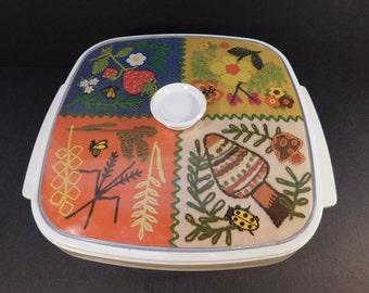 Vintage West Bend Thermo Serv Covered Casserole Dish, Needlepoint Design, Retro Kitchen