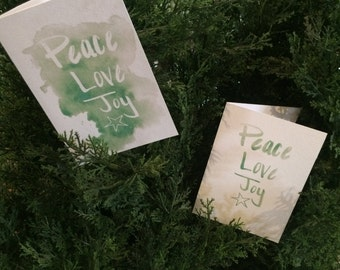 PRINTABLE CHRISTMAS CARDS - Peace Love Joy: Green