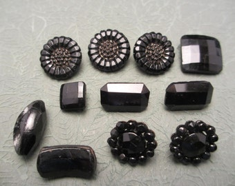 Lot of 11 Vintage Victorian Black Glass Buttons