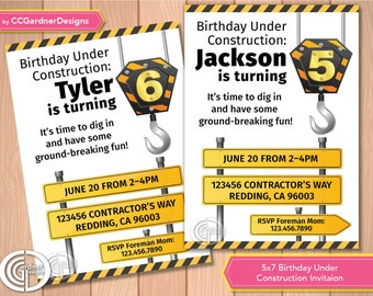 Construction Road Signs Birthday Party Invitation, Boy, Girl, Child, Kids Birthday Invite, Construction Crane and hook