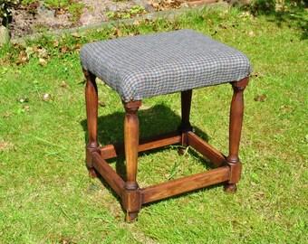 Wooden footstool , herringbone ,wool, upholstered.