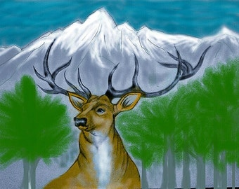Original Deer in Nature Drawing