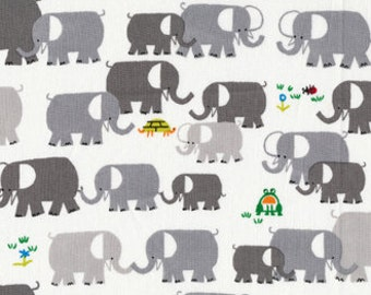 Cloud 9 Elephants by Ed Emberley's Happy Drawing Certified Organic Fabric - FBTY - FBHY - Juvenile - 11.98 Yard
