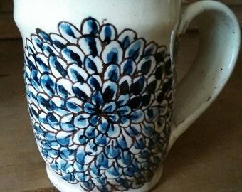 Mug, Chrysanthemum design, Hand thrown, Hand drawn, Hand painted