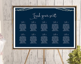 Printable Custom Wedding Seating Chart, Night String Lights Wedding Seating Poster, Wedding Seating Sign, Seating Board - WD65 TH65 WC152