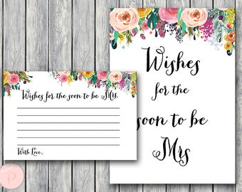 Wishes for the Bride to be Card, Wishes for the Soon to be Mrs, Engagement Party Activities, Bridal shower Game Printable, WD70 TH15