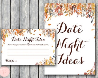 Autumn Fall Date Night Ideas, Date Night Cards, Date Night Sign, Coed Bridal Shower Activity, Bridal shower game  WD84 TH47