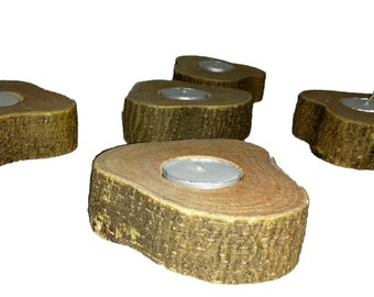 Hand Made Tea Light Made From Tree Slices **free shipping