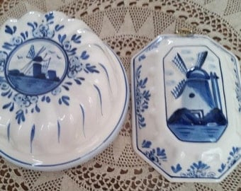 Reduced Hand Painted Blue Delft Set of 2 Hanging Small Molds