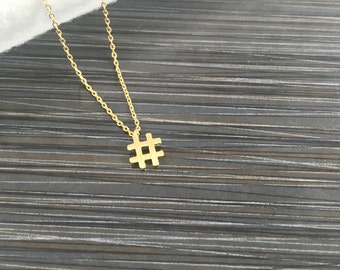 Hash Tag Necklace-Gold Hash Tag Necklace-Gold Filled Chain-Sterling Silver Hash Tag Necklace-Dainty Necklace-Layering Necklace-Gift