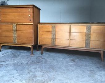 Bassett Mid Century Modern Dresser with Highboy