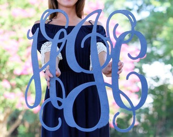 Painted Wooden Monogram, Wall Hanging, Home Decor, Nursery Decor, Wall Art, Photo Prop, Wedding Decor, Monogram Wall Sign, Wooden Initials