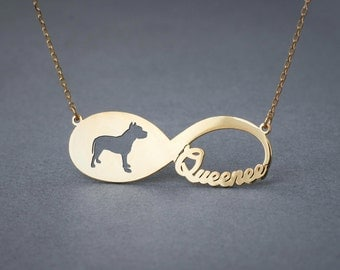 14k Solid Gold Personalised INFINITY PITBULL Necklace - 14k Gold Pitbull Terrier Necklace - Name Necklace