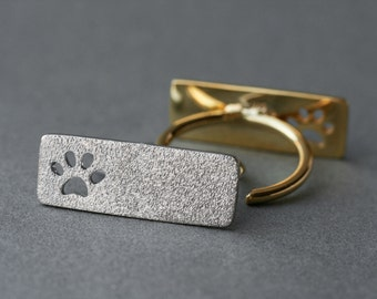 Adjustable Rectangle Paw Ring / Plate Paw Ring / Silver, Gold Plated or Rose Plated.