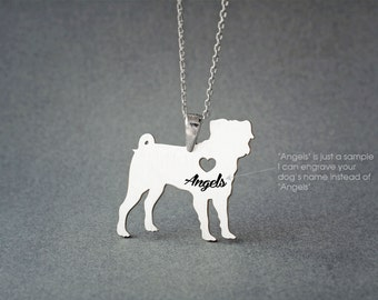 PUG NAME Necklace - PUG Jewelry - Personalised Necklace - Dog breed Jewelry - Dog Necklaces