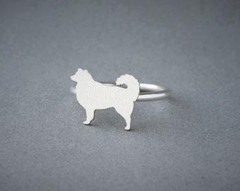 AUSTRALIAN SHEPHERD RING / Australian Shepherd Ring / Collie Ring / Silver Dog Ring / Dog Breed Ring / Silver, Gold Plated or Rose Plated.