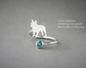 Adjustable Spiral FRENCH BULLDOG BIRTHSTONE Ring / French Bulldog Birthstone Ring / Birthstone Ring / Dog Ring