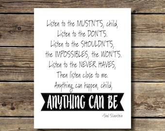 8x10 - Listen to the Mustn'ts Print - Shel Silverstein - INSTANT DIGITAL DOWNLOAD