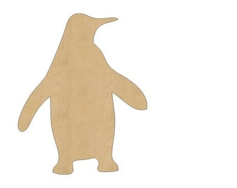 Penguin Bird Cutout Shape Laser Cut Unfinished Wood Shapes, Craft Shapes, Gift Tags, Ornaments #792 All Sizes