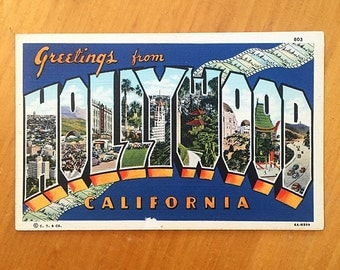 Vintage Linen Hollywood Postcard, Welcome to Hollywood, Hollywood Souvenir, California Souvenir