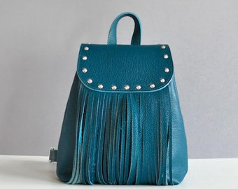 Jeans leather backpack - Ethnic