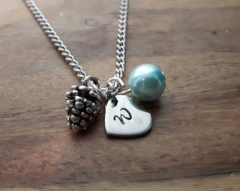 Fircone intialled necklace, birth stone necklace, birthday gift for her, birth month necklace, initialled  necklace, mums birthday, birthday