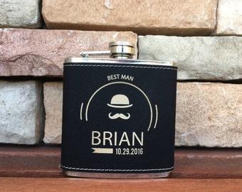 9 Personalized Groomsmen Gifts - Custom Engraved Monogram Flasks Liquor Flasks - Groomsman Best Man Groom Gift