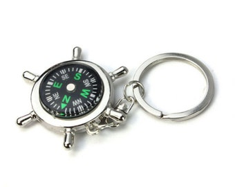 Compass Keyring, Compass Keychain, Nautical Keyring, Nautical Keychain, Nautical Gift, Quality Keyring, Navigation Tool, Walking Gift,