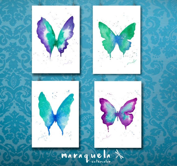 DISCOUNT 4 Butterflies SET Blue, violet and green hues. Watercolor painting set, woman, bedroom decor, living room, insects, butterfly print