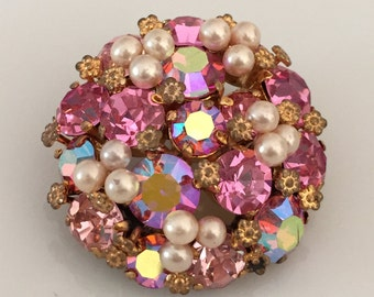 Shipping Included - Vintage Pink Crystal Pin Brooch Made in Austria- Shipping Included