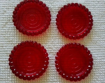 Vintage red plastic coasters 1960's retro look