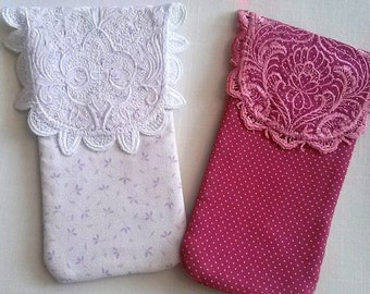 Eyeglass and sunglass case machine embroidered lace closure