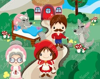 Little red hood clipart, red hood clipart, little red riding hood clipart, wolf, grandma, lumberjack -LN0136-