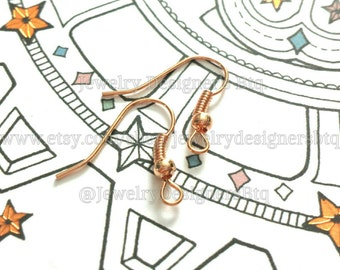 50pcs Copper Rose Gold Plated Earring Wire DIY Ear Hooks Drop Earrings Hook Jewelry Supplies Craft Supply Wholesale Findings Components