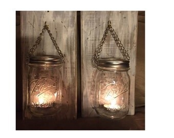 Rustic Wooden Sconces Pint Mason Jars Candle Holders Hanging Vintage Shabby Chic